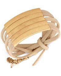 Lucky Brand - Metallic Gold-tone Tan Leather Wrap Bracelet - Lyst