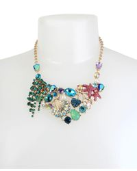 Betsey Johnson - Multicolor Gold-tone Mixed Stone Sea Motif Statement Necklace - Lyst