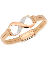 Swarovski - Metallic Pave Crystal Infinity Leather Bracelet - Lyst