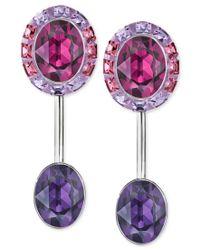 Swarovski - Silver-tone Purple Crystal Drop Earrings - Lyst