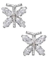 Macy's - Metallic Cubic Zirconia Butterfly Stud Earrings In 10k White Gold - Lyst
