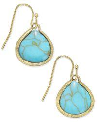 Macy's - Metallic Gold-tone Marble-look Stone Drop Earrings - Lyst