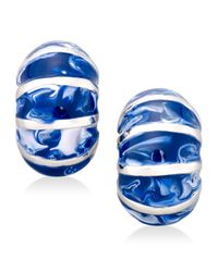 Charter Club | Blue Gold-tone Striped Enamel Huggie Earrings | Lyst
