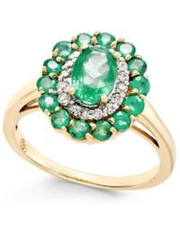 Macy's | Multicolor Emerald (1-5/8 Ct. T.w.) And Diamond (1/6 Ct. T.w.) Oval Floral Ring In 14k Gold | Lyst