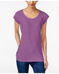 Style & Co. | Purple Chiffon-trim T-shirt, Only At Macy's | Lyst