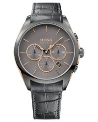 BOSS - Hugo Men's Chronograph Onyx Gray Leather Strap Watch 44mm 1513366 for Men - Lyst