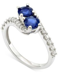 Macy's | Metallic Sapphire (1 Ct. T.w.) And Diamond (3/8 Ct. T.w.) Twist Ring In 14k White Gold | Lyst