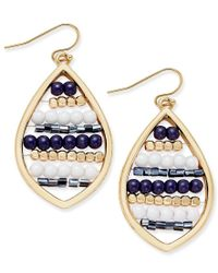 INC International Concepts - Blue Gold-tone Navy And White Beaded Drop Earrings, Only At Macy's - Lyst