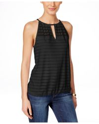 INC International Concepts   Black Plus Size Lace-embellished Tank Top   Lyst