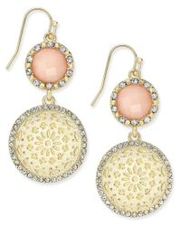 INC International Concepts - Metallic Gold-tone Pink Stone Patterned Disc Drop Earrings, Only At Macy's - Lyst