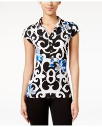 Alfani | Blue Petite Printed Cap-sleeve Polo Shirt, Only At Macy's | Lyst