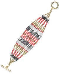 INC International Concepts | Red Gold-tone Multi-bead Patterned Layer Bracelet, Only At Macy's | Lyst