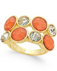 INC International Concepts | Metallic Gold-tone Coral Stone And Crystal Two-row Ring, Only At Macy's | Lyst