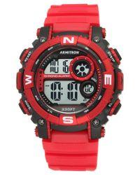 Armitron   Men's Digital Chronograph Red Strap Watch 54mm 40-8284rdbk for Men   Lyst