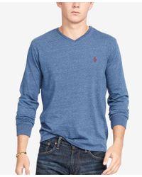 Polo Ralph Lauren | Blue Men's V-neck Long-sleeve Cotton Shirt for Men | Lyst