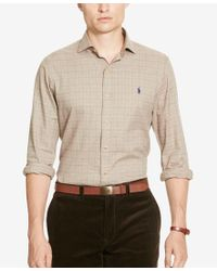 Polo Ralph Lauren | Brown Men's Slim-fit Checked Twill Shirt for Men | Lyst