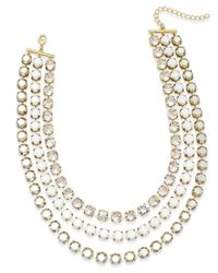 ABS By Allen Schwartz   Metallic Gold-tone Crystal And Stone Layer Necklace   Lyst