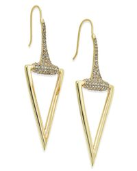 ABS By Allen Schwartz | Metallic Gold-tone Pave Accented Polished Triangle Drop Earrings | Lyst