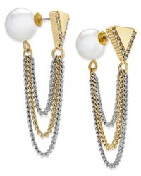 ABS By Allen Schwartz | Metallic Two-tone Imitation Pearl And Chain Front And Back Earrings | Lyst
