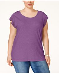 Style & Co. | Purple . Plus Size Chiffon-sleeve Top, Only At Macy's | Lyst