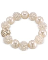 Carolee | Metallic Gold-tone Imitation Pearl And Fireball Stretch Bracelet | Lyst