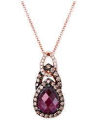 Le Vian | Metallic Chocolatier® Rhodolite Garnet (1-3/4 Ct. T.w.) And Diamond (1/3 Ct. T.w.) Teardrop Pendant Necklace In 14k Rose Gold | Lyst