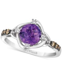 Le Vian | Metallic Chocolatier Amethyst (1-1/6 Ct. T.w.) And Diamond (1/8 Ct. T.w.) Ring In 14k White Gold | Lyst
