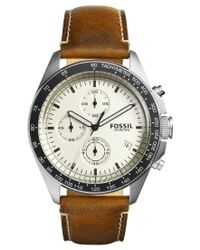 Fossil - Men's Chronograph Sport 54 Dark Brown Leather Strap Watch 44mm Ch3023 for Men - Lyst
