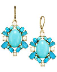 Kate Spade | 14k Gold-plated Blue Bead And Imitation Pearl Drop Earrings | Lyst