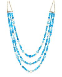 Kate Spade | Gold-tone Three-strand Blue Beaded Statement Necklace | Lyst