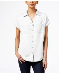 Style & Co.   White Short-sleeve Denim Shirt, Only At Macy's   Lyst