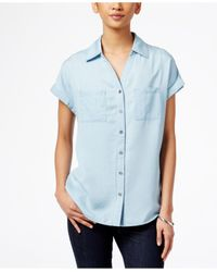 Style & Co. | Blue Short-sleeve Denim Shirt, Only At Macy's | Lyst