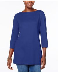 Karen Scott - Blue Cotton Boat-neck Tunic, Created For Macy's - Lyst