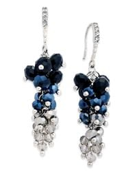INC International Concepts | Blue Silver-tone Jet Stone And Crystal Cluster Drop Earrings | Lyst