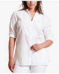 Lauren by Ralph Lauren - White Plus Size Striped Bib-front Shirt - Lyst