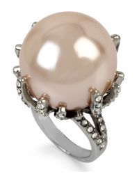 Betsey Johnson | Metallic Silver-tone Imitation Pearl And Crystal Pave Statement Ring | Lyst