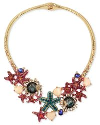 Betsey Johnson - Metallic Gold-tone Crystal And Stone Starfish Hinged Collar Necklace - Lyst
