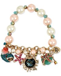 Betsey Johnson - Multicolor Gold-tone Sea Creature Multi-charm Imitation Pearl Bracelet - Lyst