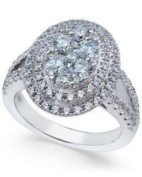Arabella | Metallic Swarovski Zirconia Oval Cluster Ring In Sterling Silver | Lyst