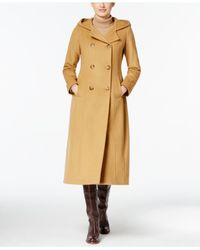 Anne Klein | Multicolor Hooded Double-breasted Maxi Coat | Lyst