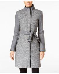 Vince Camuto | Gray Faux-leather-trim Boucle Coat | Lyst