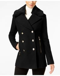 Vince Camuto | Black Faux-fur-collar Double-breasted Peacoat | Lyst