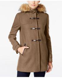 Cole Haan | Multicolor Faux-fur-trimmed Hooded Walker Coat | Lyst
