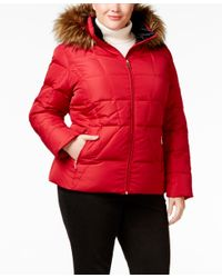 Calvin Klein | Red Plus Size Faux-fur-trim Down Puffer Coat | Lyst