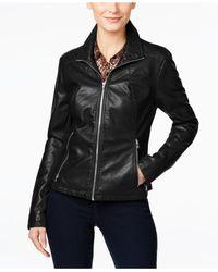 Kenneth Cole | Black Faux-leather Moto Jacket | Lyst