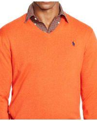 Polo Ralph Lauren | Orange Pima V-neck Sweater for Men | Lyst