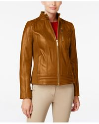 Michael Kors | Brown Michael Ribbed Leather Jacket | Lyst