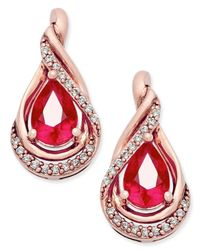 Macy's | Red Ruby (9/10 Ct. T.w.) And Diamond (1/10 Ct. T.w.) Stud Earrings In 14k Rose Gold | Lyst