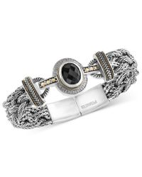 Effy Collection   Metallic Eclipse By Effy Onyx (12 X 10mm) And Diamond (1/8 Ct. T.w.) Braided Bracelet In Sterling Silver With 18k Gold Accents   Lyst