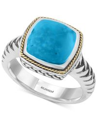 Effy Collection | Blue Manufactured Turquoise Statement Ring (4-3/8 Ct. T.w.) In Sterling Silver And 18k Gold | Lyst